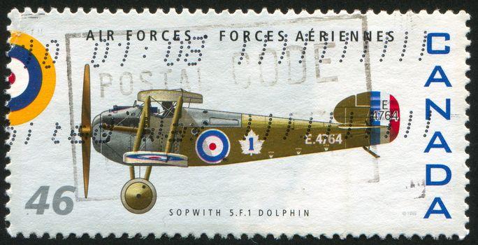 CANADA - CIRCA 1999: stamp printed by Canada, shows aeroplane, Sopwith 5.f.1 Dolphin, circa 1999