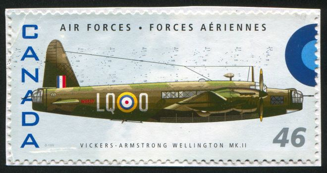 CANADA - CIRCA 1999: stamp printed by Canada, shows aeroplane, Vickers Armstrong Wellington MKII, circa 1999