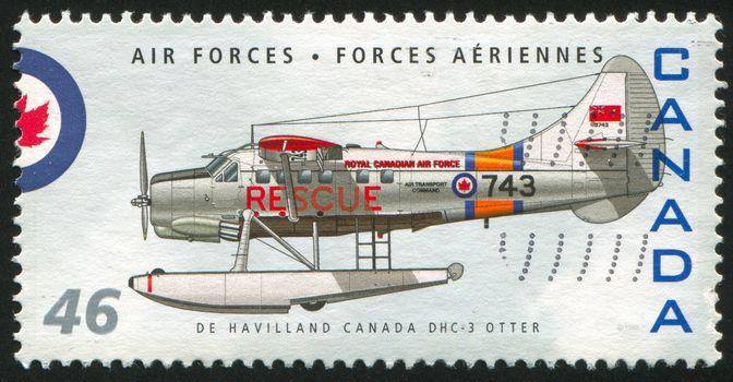 CANADA - CIRCA 1999: stamp printed by Canada, shows aeroplane, De Havilland Canada DHC-3 Otter, circa 1999
