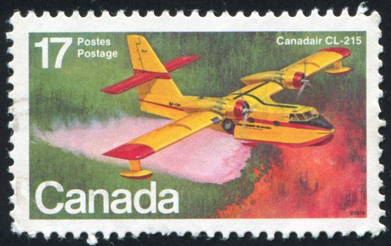 CANADA - CIRCA 1979: stamp printed by Canada, shows aeroplane, Canadair CL-215, circa 1979