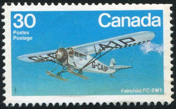 CANADA - CIRCA 1982: stamp printed by Canada, shows aeroplane, Fairchild FC-2W1, circa 1982