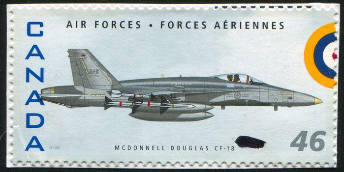 CANADA - CIRCA 1999: stamp printed by Canada, shows aeroplane, Mcdonnell Douglas CF-18, circa 1999