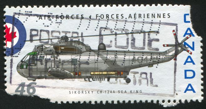 CANADA - CIRCA 1999: stamp printed by Canada, shows helicopter, Sikorsky CH-124A Sea King helicopter, circa 1999