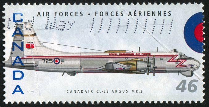 CANADA - CIRCA 1999: stamp printed by Canada, shows aeroplane, Canadair CL-28 Argus MK 2, circa 1999