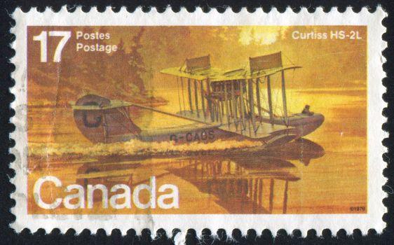 CANADA - CIRCA 1979: stamp printed by Canada, shows aeroplane, Curtiss HS, circa 1979