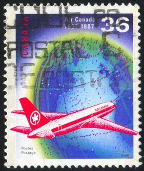 CANADA - CIRCA 1987: stamp printed by Canada, shows aeroplane and , circa 1987
