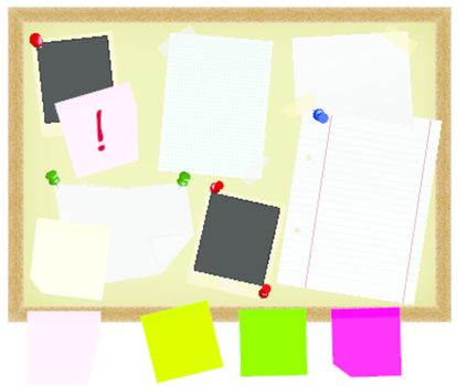 Stationery on Noticeboard