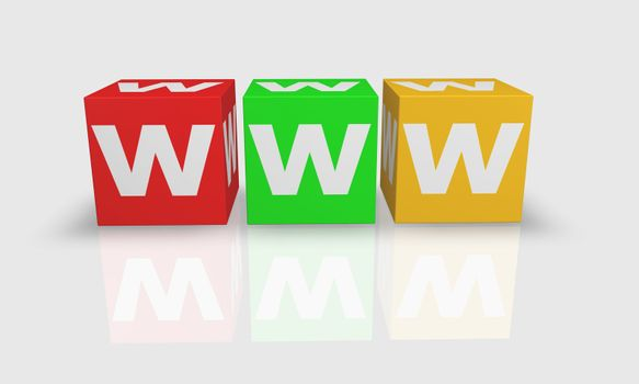 Cube word WWW in white, red, green and orange