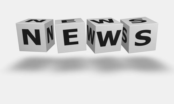 Cube word News in white and black