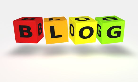 Cube word Blog in color