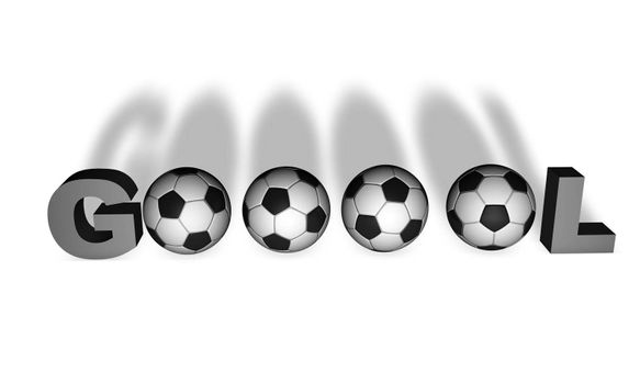 Brazilian word Gol render in 3D with several soccer balls.