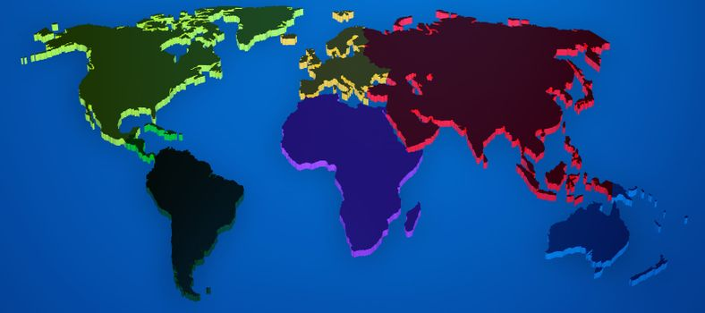 World map render 3D with continents separated by colors