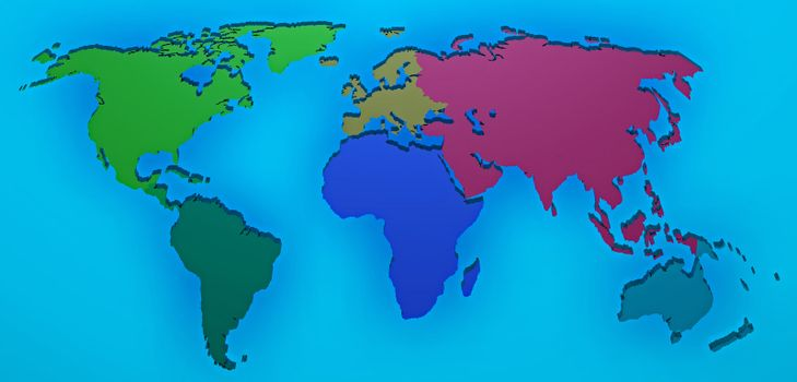 World map 3D render with the different continents separated