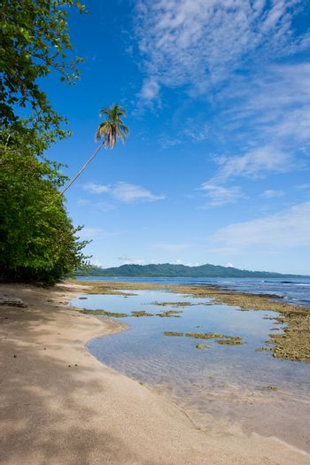 Beautiful view of a beach in the caribean side of Costa Rica.