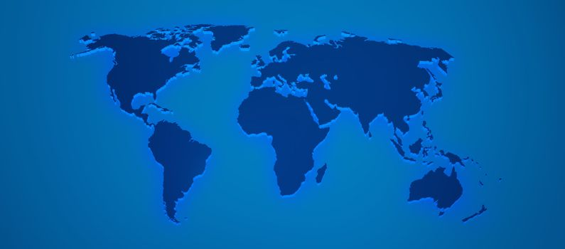 World map render 3D with shadow in blue color
