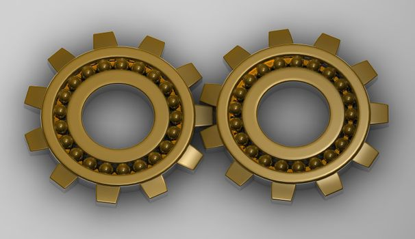 Concept of team working together, with a gold gear steel bearings working together.