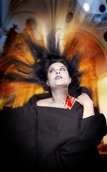 Woman bitten by a vampire