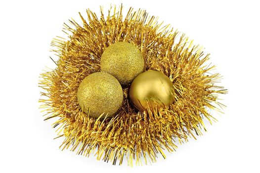 Nest of tinsel with balls