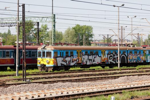 Electric multiple unit train consisting of self-propelled carriages, using electricity as the motive power.