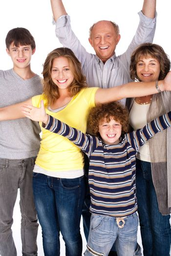 Happy family of four with young kid isolated on white background..