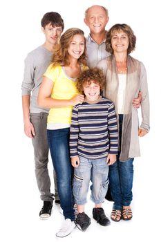 Happy family posing on white background..