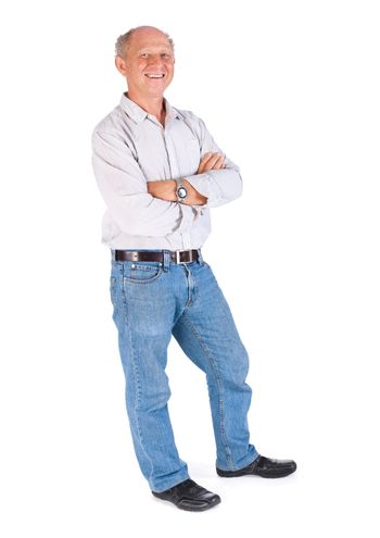 Happy old man posing with arms crossed isolated on white background..