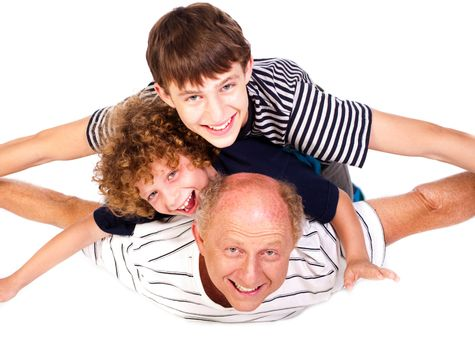 Father having fun with kids isolated on white background.....