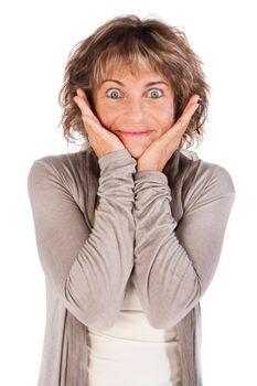 Portrait of smiling senior woman isolated on white