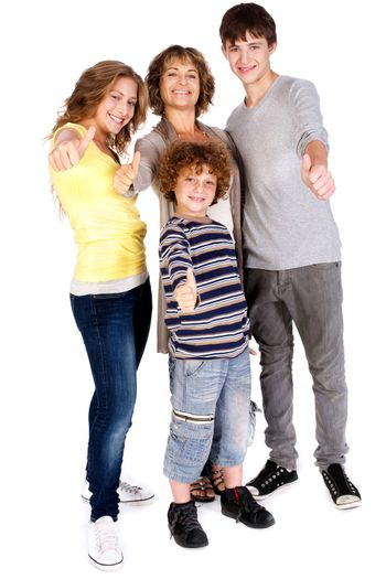 Thumbs-up family against white background.