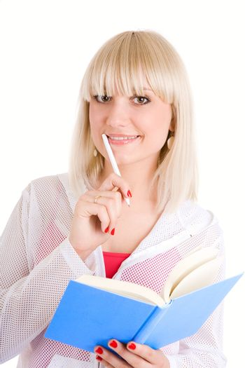 student with book and pen