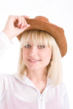blond girl in cowboy hat