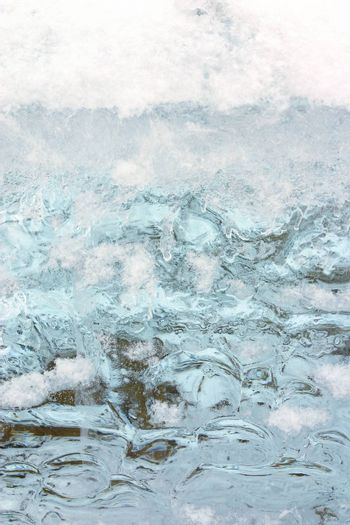 winter snow and blue ice (background, texture)