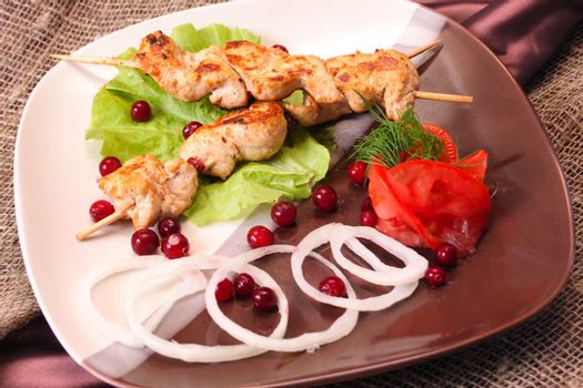 Meat dish, grill skewer