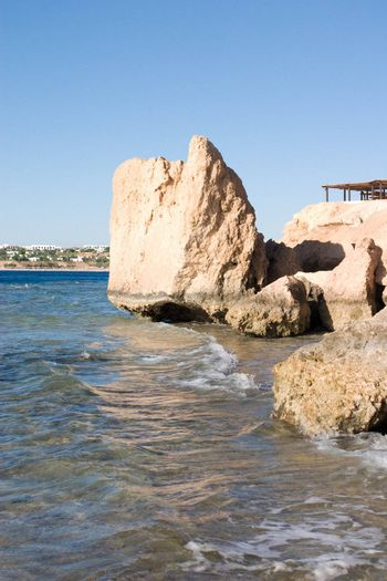 Rocks of Red sea and a view to the line of hotels