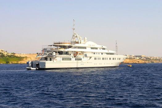 Big yaht by the coast in Egipt