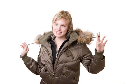 young girl in a jacket with a fur collar