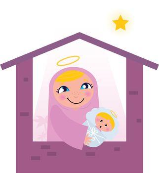Nativity Bethlehem scene: Virgin Mary and Baby Jesus