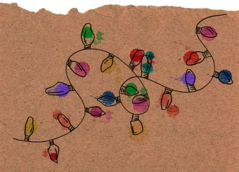 Hand drawn christmas string lights