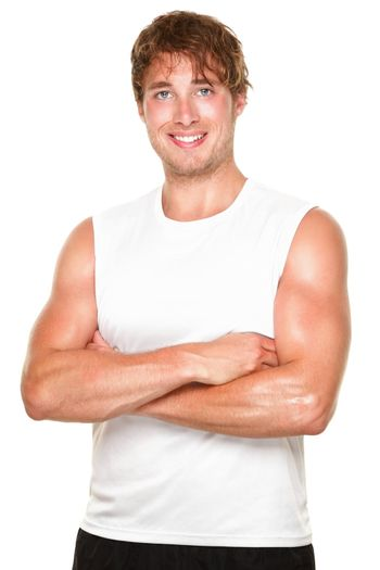 Fitness athlete man portrait- Young muscular sporty fit caucasian man isolated on white background.