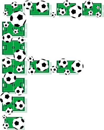 F, Alphabet Football letters made of soccer balls and fields. Vector