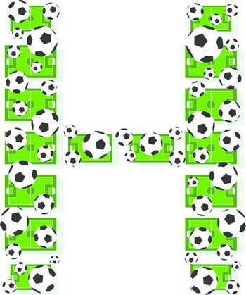 H, Alphabet Football letters made of soccer balls and fields. Vector