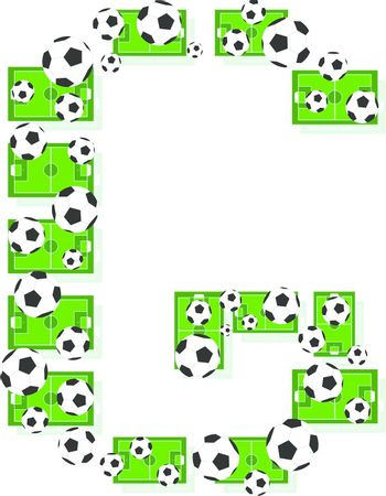 G, Alphabet Football letters made of soccer balls and fields. Vector