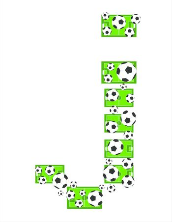 J, Alphabet Football letters made of soccer balls and fields. Vector