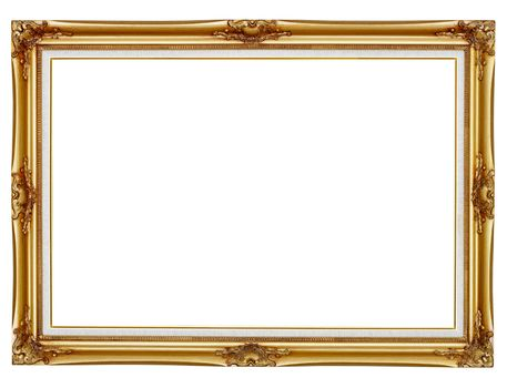 Gilded frame for painting on white background