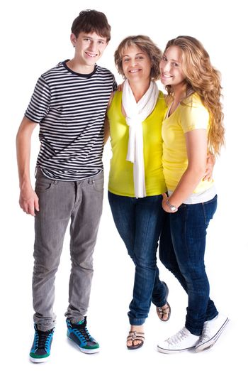 Family isolated on white background, posing indoors..