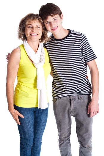 Grandmother with young grandson in the studio.