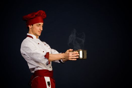 Chef with hot pot