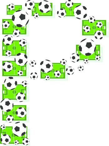 P, Alphabet Football letters made of soccer balls and fields. Vector