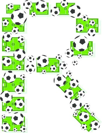 R, Alphabet Football letters made of soccer balls and fields. Vector