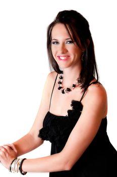 Beautiful brunette blue eyed sexy model dressed in black dress